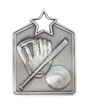 Load image into Gallery viewer, MS2062AS Baseball Star Medal in Rectangle Shape - Great Value! Featuring a Bat, Ball & Glove Gold, Silver & Bronze 60mm high with square engraving space on the back included with a Ribbon