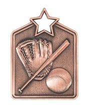 Load image into Gallery viewer, MS2062B Baseball Star Medal in Rectangle Shape - Great Value! Featuring a Bat, Ball & Glove Gold, Silver & Bronze 60mm high with square engraving space on the back included with a Ribbon