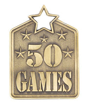 Load image into Gallery viewer, MS2150AG Gold 50 Games Star Medal in Rectangle Shape - Great Value! Featuring Stars & 50 Games  Gold  60mm high with square engraving space on the back, Ribbon included.  Gold Coast Trophies Burleigh Heads