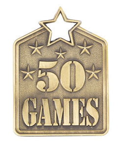 MS2150AG Gold 50 Games Star Medal in Rectangle Shape - Great Value! Featuring Stars & 50 Games  Gold  60mm high with square engraving space on the back, Ribbon included.  Gold Coast Trophies Burleigh Heads