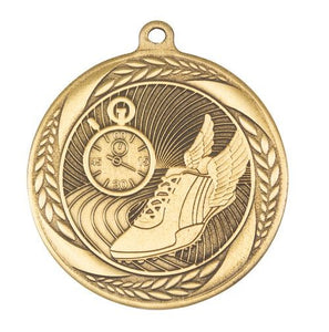 MS4056AG Athletics Wreath Design Medal - Great Value! Featuring Running Shoe & Stopwatch  55mm Diameter, Ribbon & Engraving plaque on the back included
