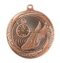 Load image into Gallery viewer, MS4056B Athletics Wreath Design Medal - Great Value! Featuring Running Shoe & Stopwatch 55mm Diameter, Ribbon & Engraving plaque on the back included