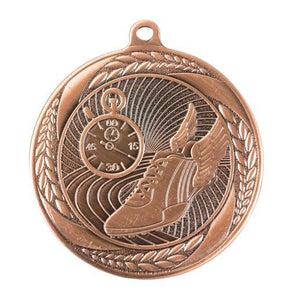 MS4056B Athletics Wreath Design Medal - Great Value! Featuring Running Shoe & Stopwatch 55mm Diameter, Ribbon & Engraving plaque on the back included