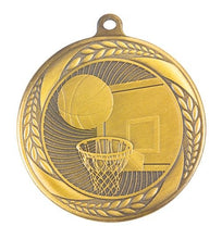 Load image into Gallery viewer, MS4060AG Basketball Wreath Design Medal - Great Value! Featuring Basketball Backboard & Hoop with a Ball  55mm Diameter, Ribbon & Engraving plaque on the back included
