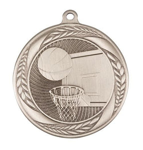 MS4060AS Basketball Wreath Design Medal - Great Value! Featuring Basketball Backboard & Hoop with a Ball 55mm Diameter, Ribbon & Engraving plaque on the back included