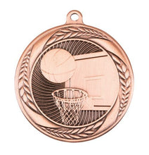 Load image into Gallery viewer, MS4060B Basketball Wreath Design Medal - Great Value! Featuring Basketball Backboard & Hoop with a Ball 55mm Diameter, Ribbon & Engraving plaque on the back included