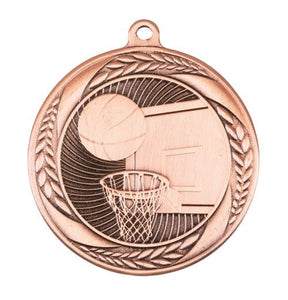 MS4060B Basketball Wreath Design Medal - Great Value! Featuring Basketball Backboard & Hoop with a Ball 55mm Diameter, Ribbon & Engraving plaque on the back included