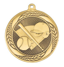 Load image into Gallery viewer, MS4062AG Baseball Wreath Design Medal - Great Value! Featuring Home Plate, Helmet, Bat & Ball  55mm Diameter, Ribbon & Engraving plaque on the back included
