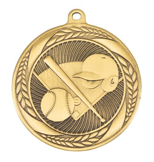 MS4062AG Baseball Wreath Design Medal - Great Value! Featuring Home Plate, Helmet, Bat & Ball  55mm Diameter, Ribbon & Engraving plaque on the back included