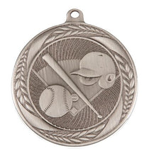 Load image into Gallery viewer, MS4062AS Baseball Wreath Design Medal - Great Value! Featuring Home Plate, Helmet, Bat & Ball 55mm Diameter, Ribbon & Engraving plaque on the back included