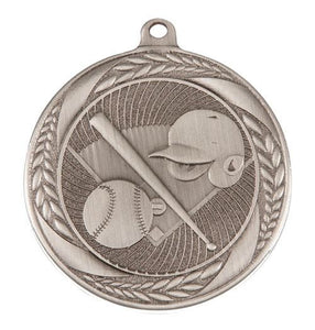 MS4062AS Baseball Wreath Design Medal - Great Value! Featuring Home Plate, Helmet, Bat & Ball 55mm Diameter, Ribbon & Engraving plaque on the back included