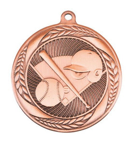 MS4062B Baseball Wreath Design Medal - Great Value! Featuring Home Plate, Helmet, Bat & Ball 55mm Diameter, Ribbon & Engraving plaque on the back included
