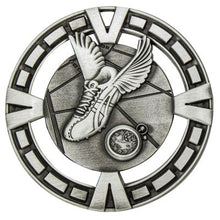 Load image into Gallery viewer, MY901S Varsity Athletics / Track Medal - Great Value! Featuring Running Shoe with wings & Timer Gold, Silver & Bronze 65mm Diameter, 38mm disc on the back for engraving, Ribbon included