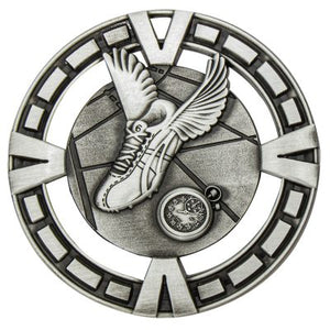 MY901S Varsity Athletics / Track Medal - Great Value! Featuring Running Shoe with wings & Timer Gold, Silver & Bronze 65mm Diameter, 38mm disc on the back for engraving, Ribbon included