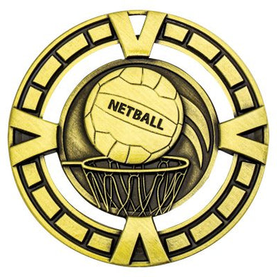 MY911G Varsity Netball Medal - Great Value! Featuring Netball & Hoop  Gold, Silver & Bronze  65mm Diameter, Ribbon & a 38mm disc on the back for Engraving included, Gold Coast Trophies Burleigh