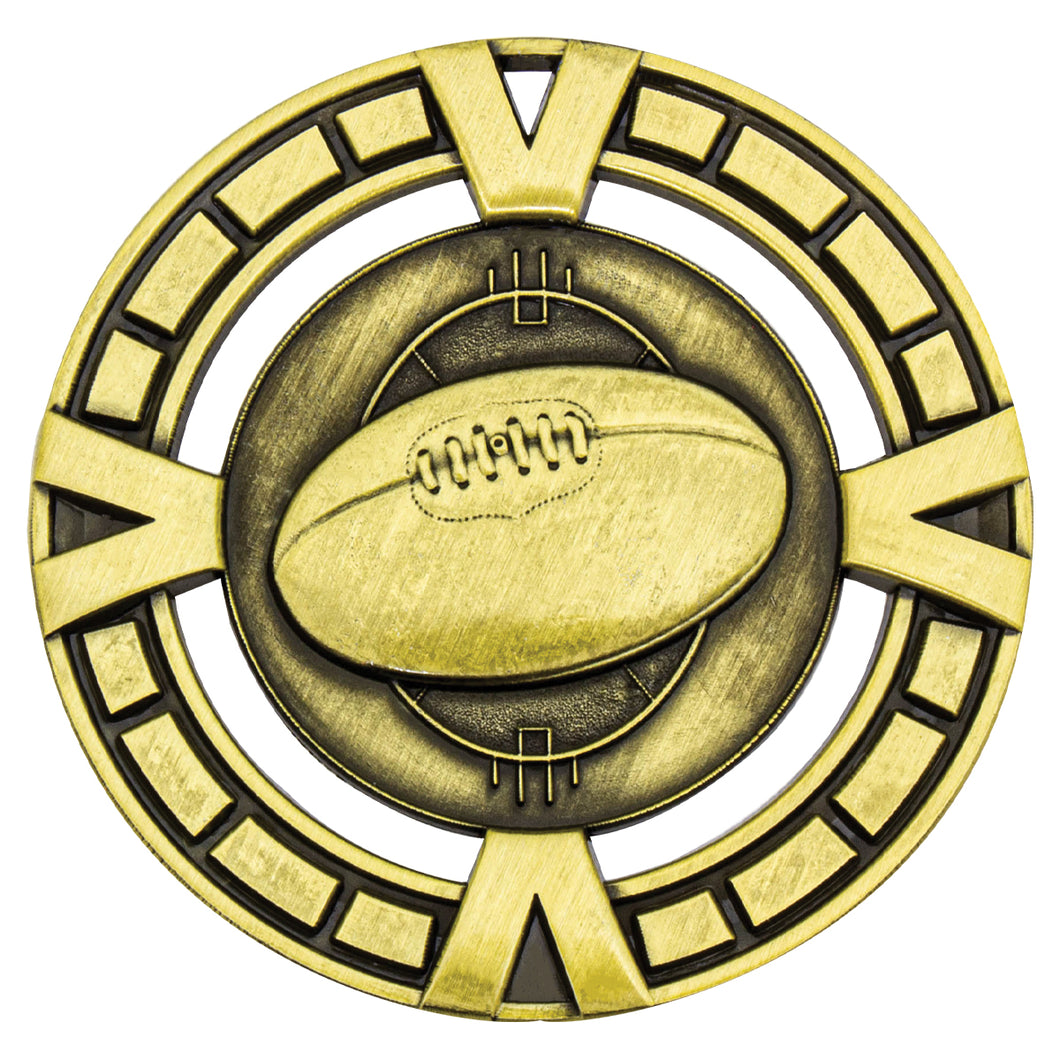 MY912G Gold Varsity AFL Medal - Great Value! Featuring AFL Ball  65mm Diameter, 38mm disc on the back for engraving, Ribbon included.  Gold Coast Trophies West Burleigh