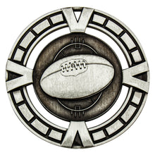 Load image into Gallery viewer, MY912S Silver Varsity AFL Medal - Great Value! Featuring AFL Ball 65mm Diameter, 38mm disc on the back for engraving, Ribbon included. Gold Coast Trophies West Burleigh