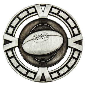 MY912S Silver Varsity AFL Medal - Great Value! Featuring AFL Ball 65mm Diameter, 38mm disc on the back for engraving, Ribbon included. Gold Coast Trophies West Burleigh