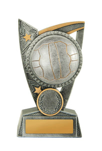 N19-1708 Challenger Series Netball Trophies, Features Netball & Stars Silver Resin with Gold Trim 3 Sizes: 125mm / 150mm / 175mm available, Engraving & Club logo included, Gold Coast Trophies Burleigh