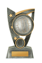 Load image into Gallery viewer, N19-1709 Challenger Series Netball Trophies, Features Netball & Stars Silver Resin with Gold Trim 3 Sizes: 125mm / 150mm / 175mm available, Engraving & Club logo included, Gold Coast Trophies Burleigh