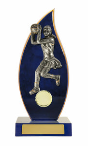 N19-2705 Timber Netball Trophy in Blue with Netball Player on the Front Blue Timber Teardrop with Gold Trim and Silver Netball Player 3 Sizes: 230mm / 260mm / 290mm available, Engraving & Club logo included, Gold Coast Trophies Burleigh
