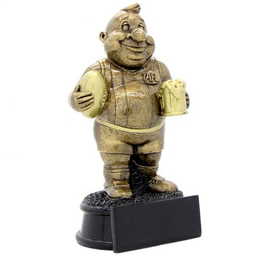 NR8 Novelty AFL Trophy, fun character with beer in hand Gold Resin  170mm in height, Engraving included, Gold Coast Trophies Bureigh Heads