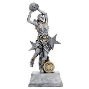 PR2L Basketball Female Shooting with Star Feature Silver Resing with Gold Trim  3 Sizes:  195mm / 225mm / 260mm available, Engraving & Club logo included