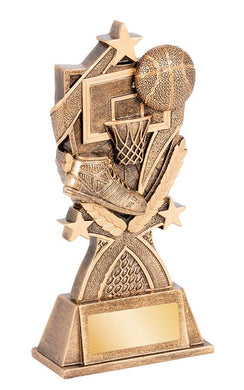 RGL160 Kona Basketball Series Trophy with Shoe, Net & Ball Gold Resin  3 Sizes:  140mm / 165mm / 180mm available, Engraving & Club logo included