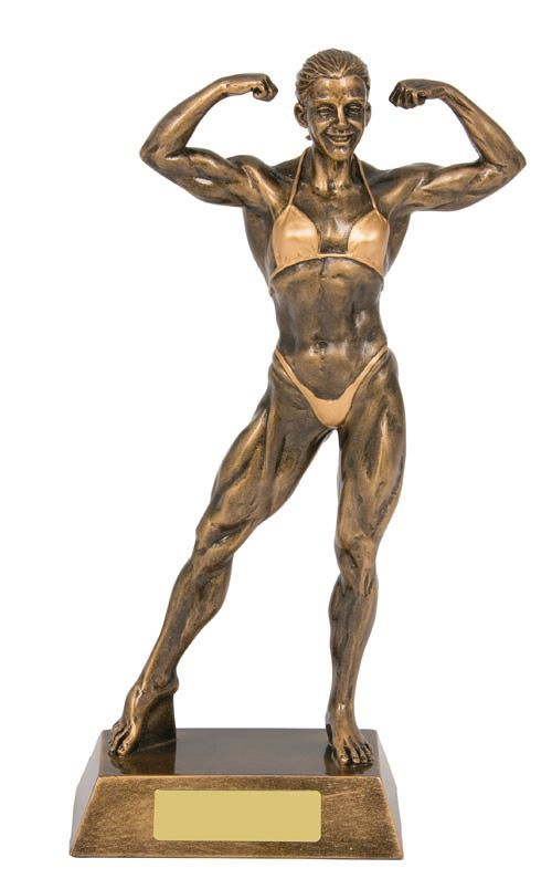 RM151 - Female Body Building trophy, posing - Gold resin.  Collect from Gold Coast Trophies Burleigh Heads, Qld or we can delivery Australia Wide.