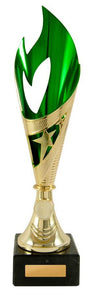 S20-4214 Flamenco Flame Star Cup gold green on marble base, logo engraving included. Shipping Australia Wide or collection locally on the Gold Coast.