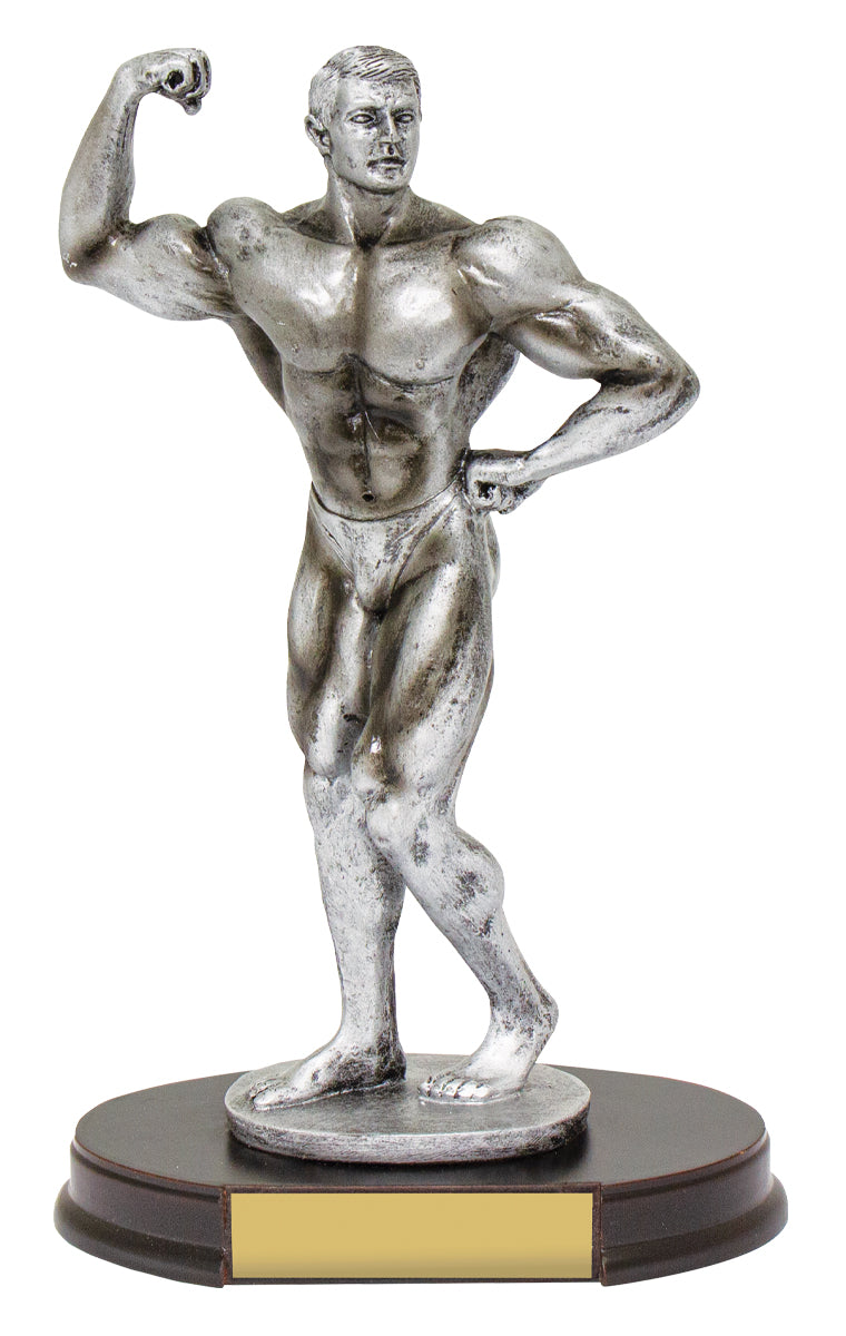 SR73 - Sylish silver body builder posing trophy mounted on timer base,  Available from Gold Coast Trophies, Burleigh - delivery or collection.