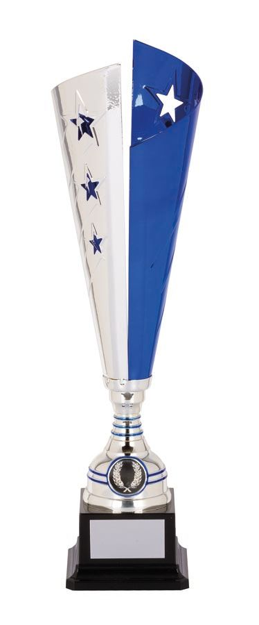 TGC204 Laser Scribe Star Silver Cup Series with 2 Colour Options Blue/Silver & Black/Silver Metal Cup with Black Base  4 Sizes: 385mm / 405mm / 450mm / 465mm available, Engraving & Club logo included, Gold Coast Trophies, Burleigh Heads
