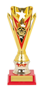 Gold Star Trophy Cup Range with Vibrant Feature Colours Plastic Gold Cup with Pink, Green, Purple, Red or Blue feature Colour & Base.  Space for Club Logo & Engraving  2 Sizes:  180mm / 215mm  Engraving & Logo included. Delivery or collect from Gold Coast Trophies, Burleigh Heads, Qld