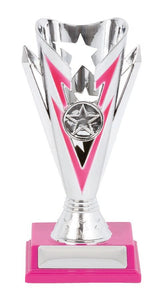 Silver Star Trophy Cup Range with Vibrant Feature Colours Plastic Silver Cup with Pink, Green, Purple, Red or Blue feature Colour & Base.  Space for Club Logo & Engraving  2 Sizes:  180mm / 215mm  Engraving & Logo included. Delivery or collect from Gold Coast Trophies, Burleigh Heads, Qld