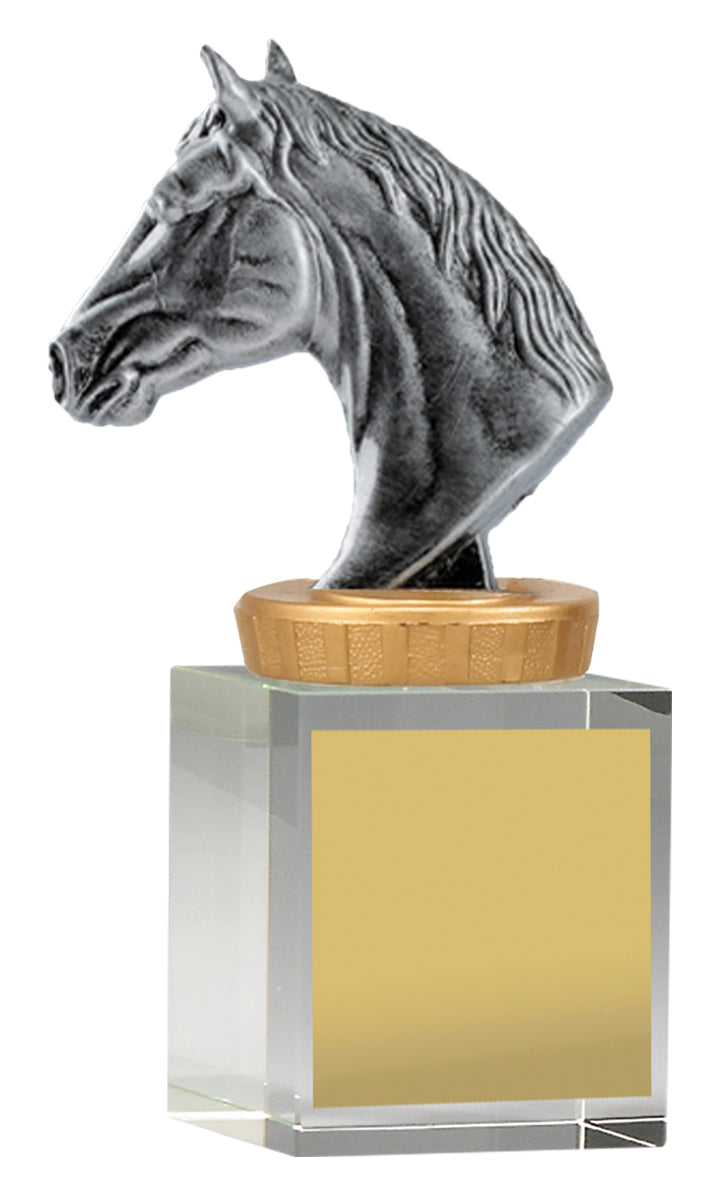 UB35A Horse Head on Crystal Column Base Crystal Colum with Silver Resin Horse Head 3 Sizes: 120mm / 160mm / 175mm available, Engraving included, Gold Coast Trophies Burleigh