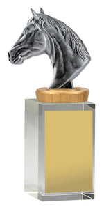 UB35B Horse Head on Crystal Column Base Crystal Colum with Silver Resin Horse Head 3 Sizes: 120mm / 160mm / 175mm available, Engraving included, Gold Coast Trophies Burleigh