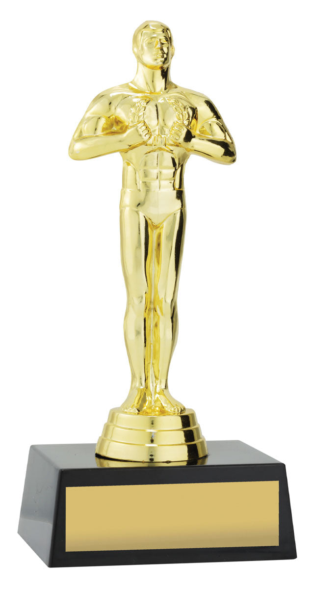 X0004 Gold Oscar Achievement Trophy in Gold with a Black Plastic Base, Gold Plated Plastic  Figure 185mm, Engraving included.  Gold Coast Trophies near Robina Gold Coast