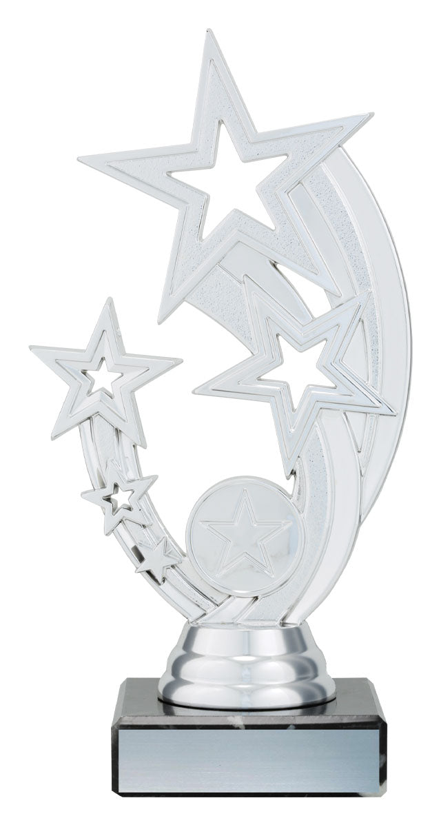 X0013 Silver Flying Stars Trophy with Black Marble Base Silver Plated Plastic 185mm in height, Engraving & Logo included. Gold Coast Trophies Burleigh Heads