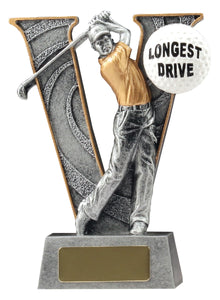 X0072 V-Series Golf Award - Longest Drive, with Golfer Mid-Swing Silver Resin, Gold Trim & Golf Ball  150mm in height, Engraving included, Gold Coast Trophies Burleigh