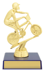 X0206 BMX Bike & Rider on Blue Column Timber Base Timber Coloumn with Gold BMX Bike & Rider 5 Sizes: 145mm / 195mm / 220mm / 245mm / 270mm available, Engraving & Club logo included, Gold Coast Trophies Burleigh