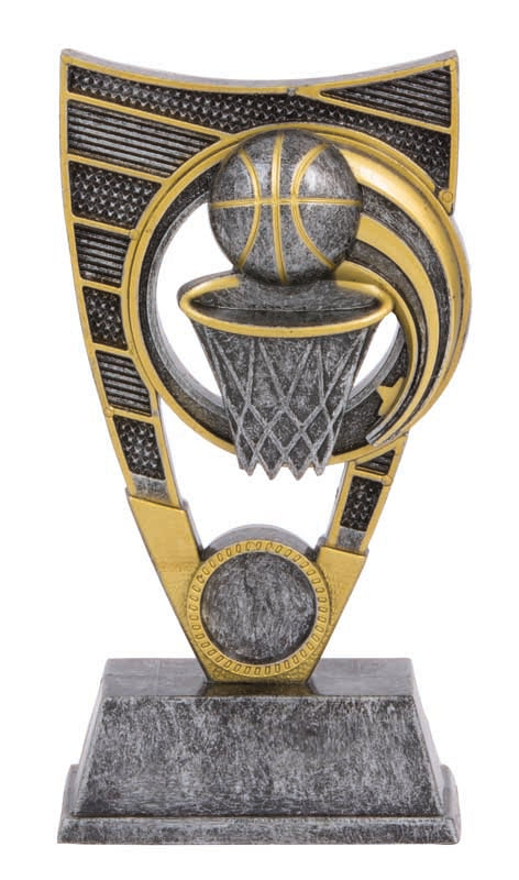 BF560 Atomic Series Basketball Trophy with Basketball & Net Charcoal & Gold  2 Sizes: 175mm / 230mm available, Engraving & Club logo included