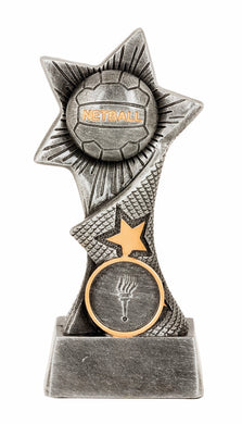 JW9853 Dyna Netball Trophy, Featuring Netball & Stars Silver Resin with Gold Trim  3 Sizes: 140mm / 160mm / 180mm available, Engraving & Club logo included, Gold Coast Trophies Burleigh