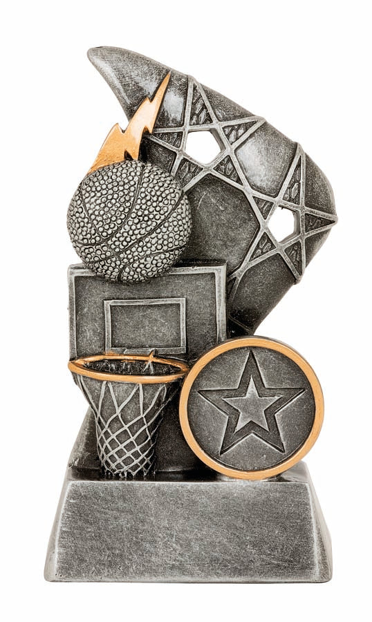 JW9960 Reno Basketball Series Trophy with Net & Ball Silver Resin with Gold Trim  3 Sizes:  110mm / 130mm / 150mm available, Engraving & Club logo included