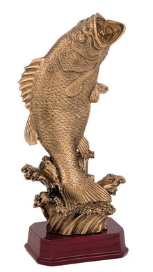 rf8217 Fishing Trophy with gold fish on timber base. Pickup locally at Gold Coast Trophies near Robina QLD or ship Australia wide.