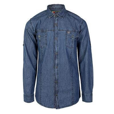 BOYS DENIM LONG SLEEVE SHIRT - BLUE