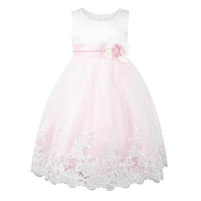 GIRL'S PARTY DRESS WITH LACE HEM - PINK