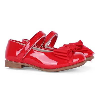 GIRLS RED PATENT MARY JANE WITH BOW