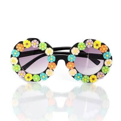 Round Frame sunglasses with flowers