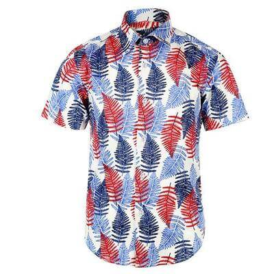 BOYS SHORT SLEEVE SHIRT WITH LEAF PRINT - MULTI COLOR