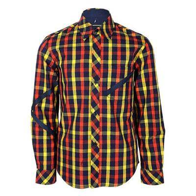 BOYS LONG SLEEVE CHECK SHIRT - MULTICOLOR